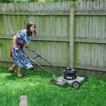 I started mowing